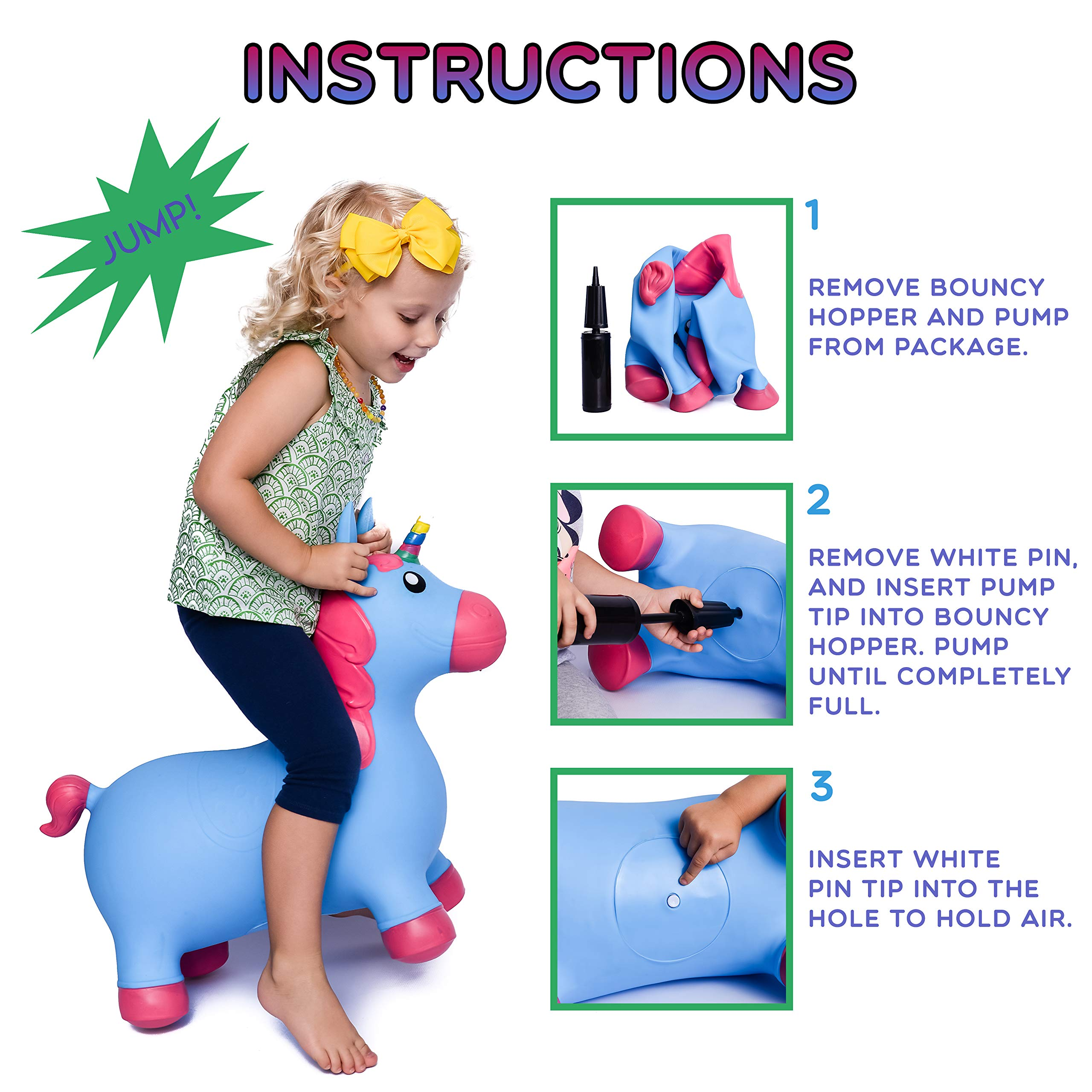 Kiddie Play Hopper Ball Unicorn Inflatable Hoppity Hop Bouncy Horse Toy (Pump Included) by Kiddie Play (Image #5)