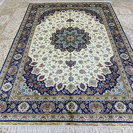 Amazon Com Persian Rugs 6x9 Blue Hand Knotted Silk Carpets For Living Room Yuchen Carpets Kitchen Dining