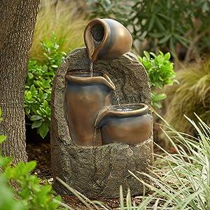 "John Timberland Three Jug Rustic Zen Outdoor Floor Water Fountain with Light LED 28"" High Cascading Yard Garden Patio Deck Home"