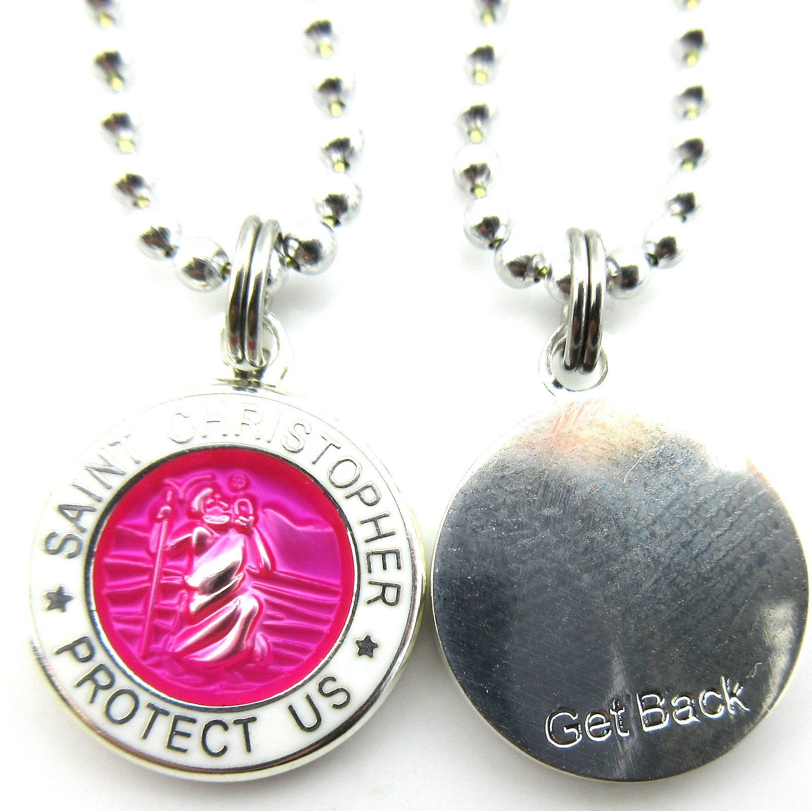 Get Back Supply Co Mini Saint Christopher Surf Medal Pendant Necklace,Pomegranate/White PG/WH by Get Back Supply Co (Image #2)