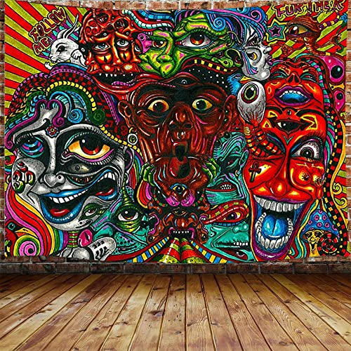 JAWO Trippy Wall Tapestry for Men, Hippie Psychedelic Abstract Monster Large Tapestry Wall Hanging for Bedroom, Aesthetic Weed Tapestry Beach Blanket College Dorm Home Decor 90 W X 70 H