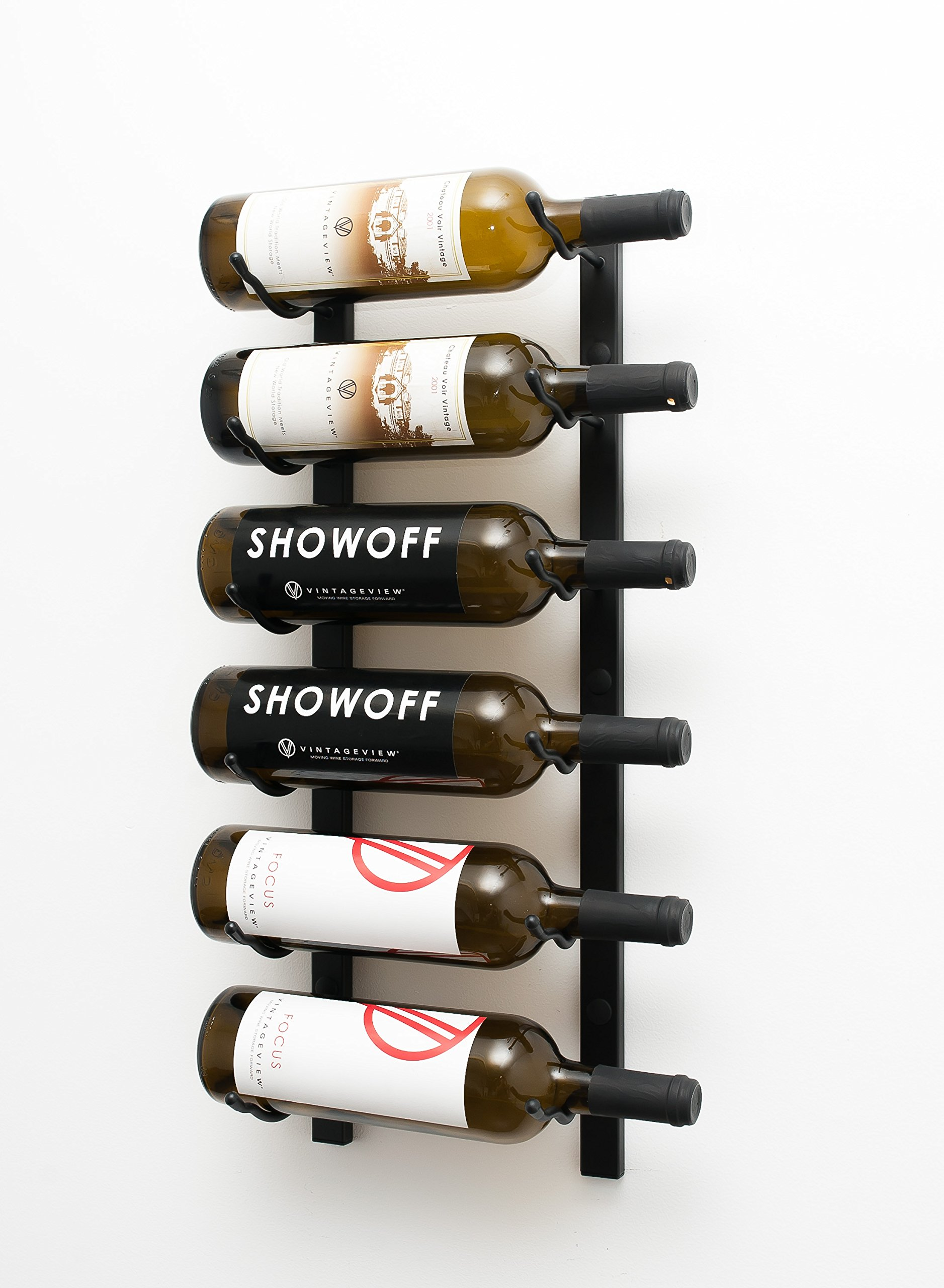 VintageView Wall Series-6 Bottle Metal Wall Mounted Wine Rack (Satin Black) Stylish Modern Wine Storage with Label Forward Design by VintageView