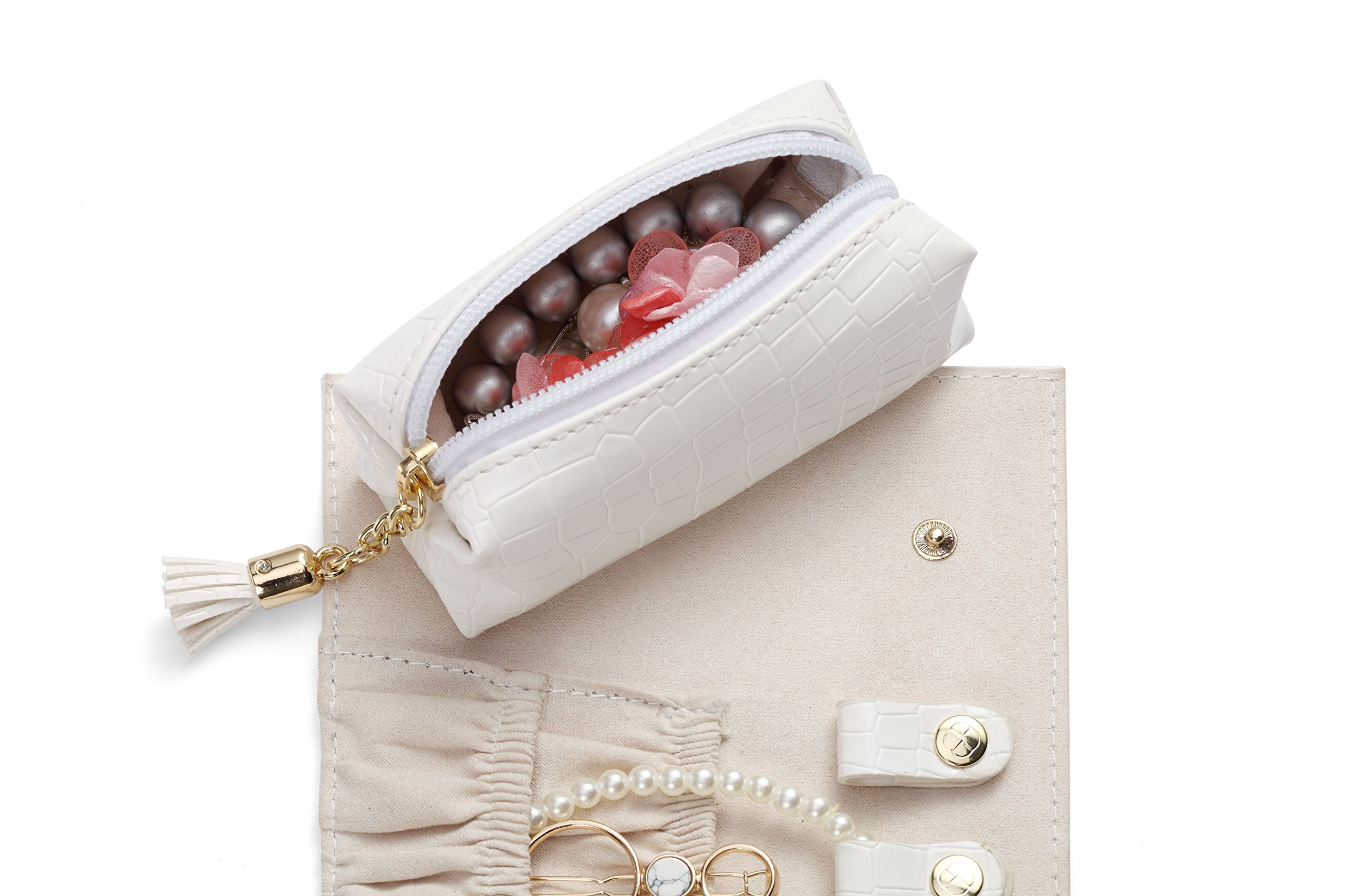Vlando Rollie Portable Jewelry Roll, lipstick/Daily Jewelries Storage Case- (White) by Vlando (Image #4)
