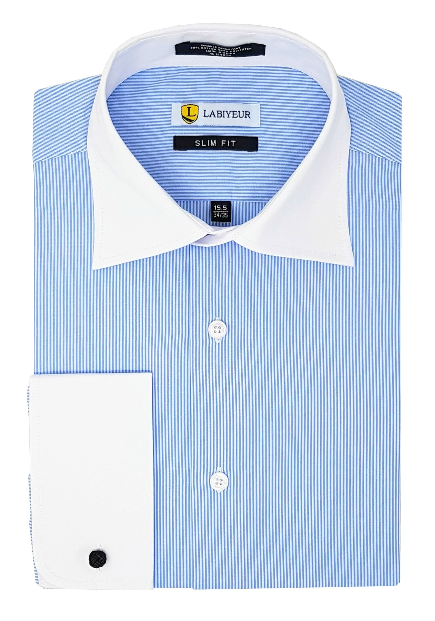 Labiyeur Men's Slim Fit French Cuff Striped Dress Shirt 15.5 | 32-33 Blue/White Fine Stripes