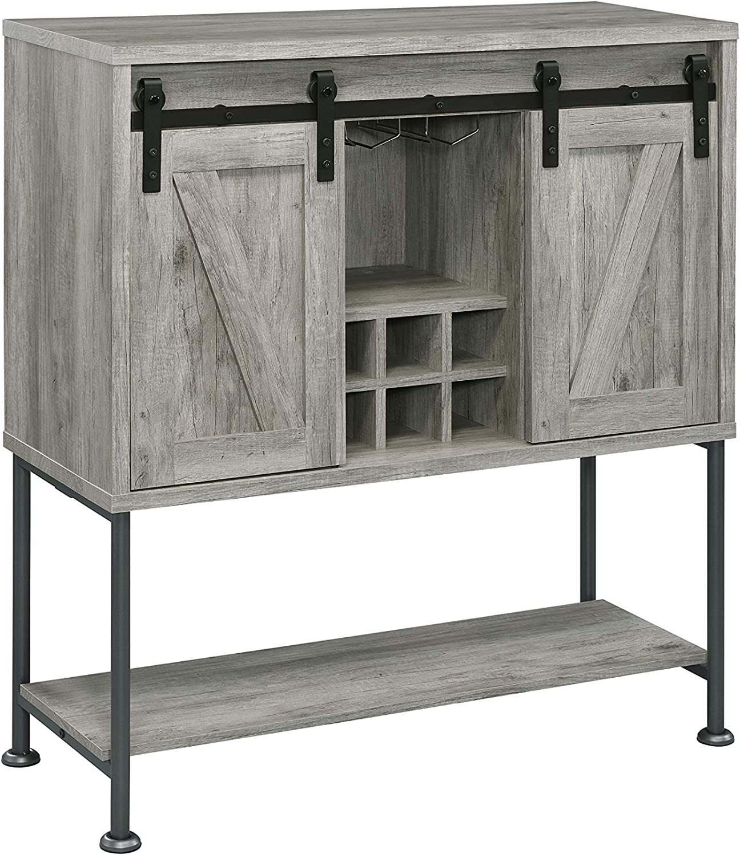 Coaster Home Furnishings Sliding Door Lower Shelf Grey Driftwood Bar Cabinet