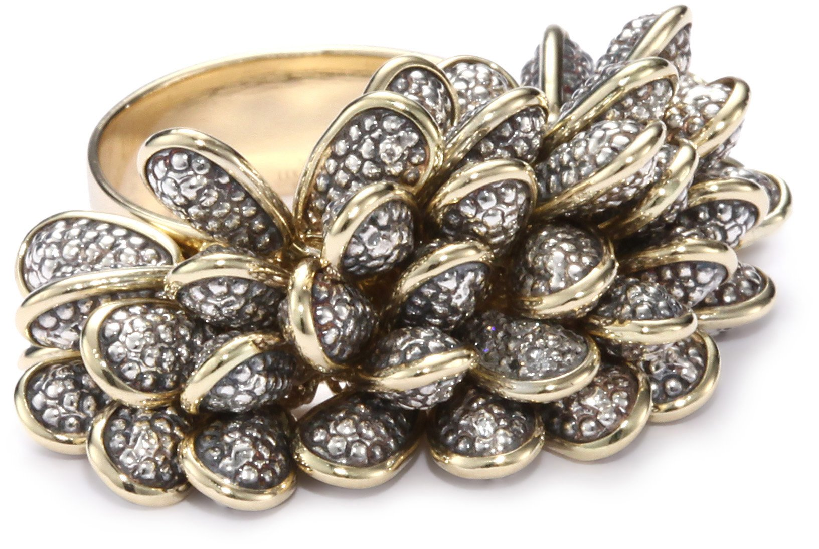 Moritz Glik ''New Wave'' 18K Gold, Oxidized Silver and Diamond Textured Beaded Ring, Size 7