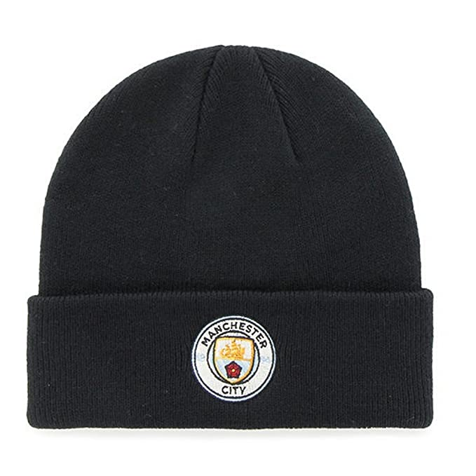 Manchester City FC Adults Official Knitted Winter Football Soccer Crest Hat  (One Size) (Blue) at Amazon Men s Clothing store  a1fdaad1174