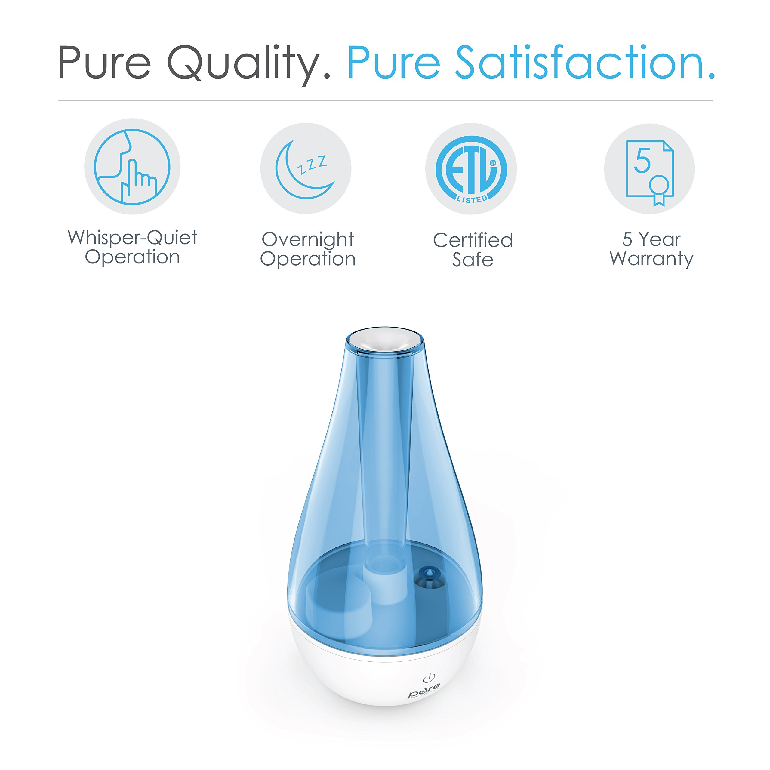MistAire Studio Ultrasonic Cool Mist Humidifier for Small Rooms – Portable Humidifying Unit Ideal for Travel with High & Low Mist Settings and Optional Night Light by Pure Enrichment (Image #3)
