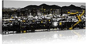 Arizona Phoenix City Skyline Decor Wall Art Black and White Yellow Modern Cityscape Panorama Decorations USA Nightscape Paintings Canvas Pictures for Bedroom Office StretchedandFramedReadytoHang