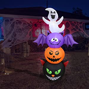 6 Foot Tall Halloween Inflatable Stacked Figures Totem Pole Ghost, Bat, Pumpkin and Cat Garden LED Lights Outdoor Indoor Holiday Decorations Blow up Yard Lawn Inflatables Home Family Outside Decor