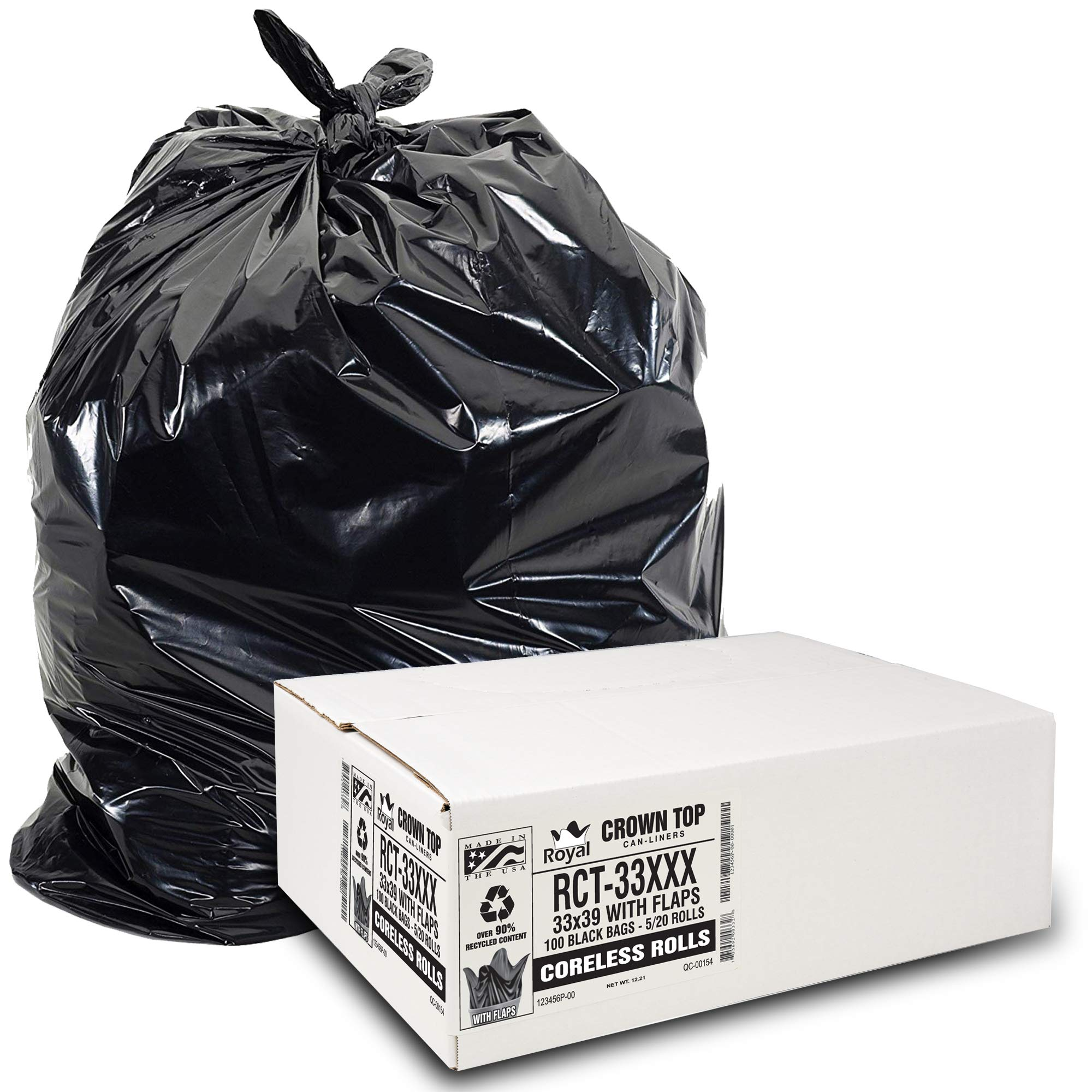 Heavy Duty 33 Gallon Trash Bags (Huge 100 Ct. /w Flap Ties) - 2 MIL equiv. Thick Gauge Large Black Plastic Garbage Liners for Kitchen, Home. Outdoor, Lawn, Yard, Contractors, Brute/Rubbermaid cans