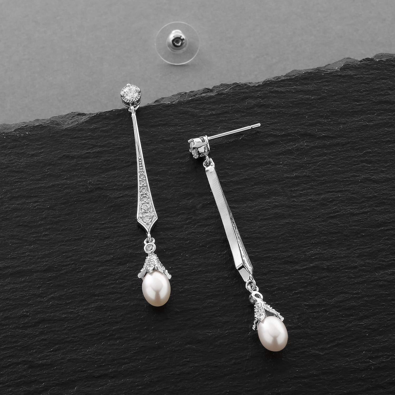 Mariell Slender Circonita Vintage Dangle Pendientes con agua dulce perla gotas para novia o bodas: Mariell: Amazon.es: Joyería