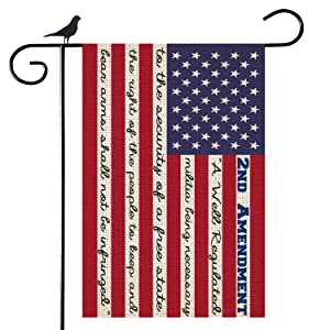 Shmbada American 2nd Second Amendment Burlap Garden Flag, Premium Material Double Sided Outdoor US Patriotic Decorative Flags for Home Garden Yard Lawn, 12.5 x 18.5 Inch