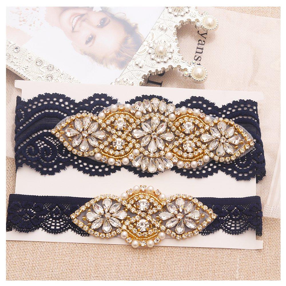 Yanstar Wedding Bridal Garter Belt Navy Stretch Lace Bridal Garter Sets With Gold Rhinestones For Weddings