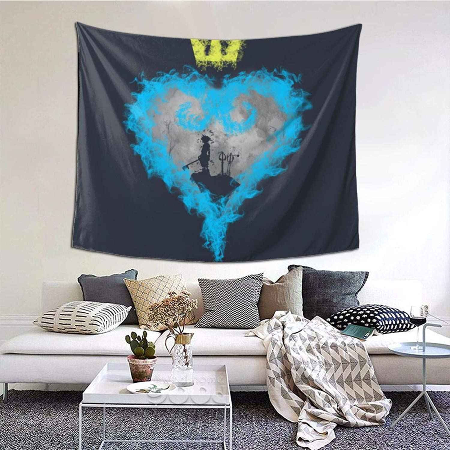 Tapestry Brave Heart Kingdom Hearteep Wall Tapestry Anime Fans Home Dorm Wall Decor 60x50 Inches