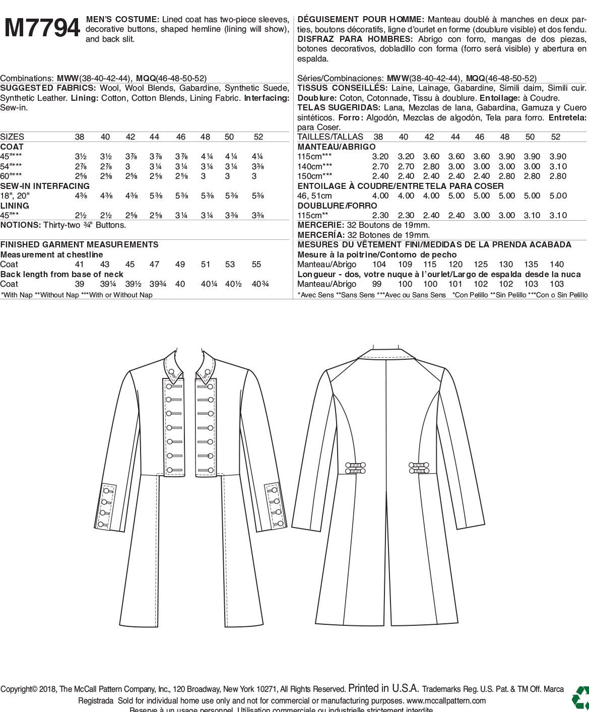 Amazon.com: McCalls Patterns M7794 Mens Costume Sewing Pattern, Multicolor: Arts, Crafts & Sewing