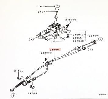 genuine mitsubishi manual transmission shift cable set 2460a037 lancer  (exc  turbo) 2008 2009 2010 2011 2012 2013 2014 2015 2016 2017, transmission  shift