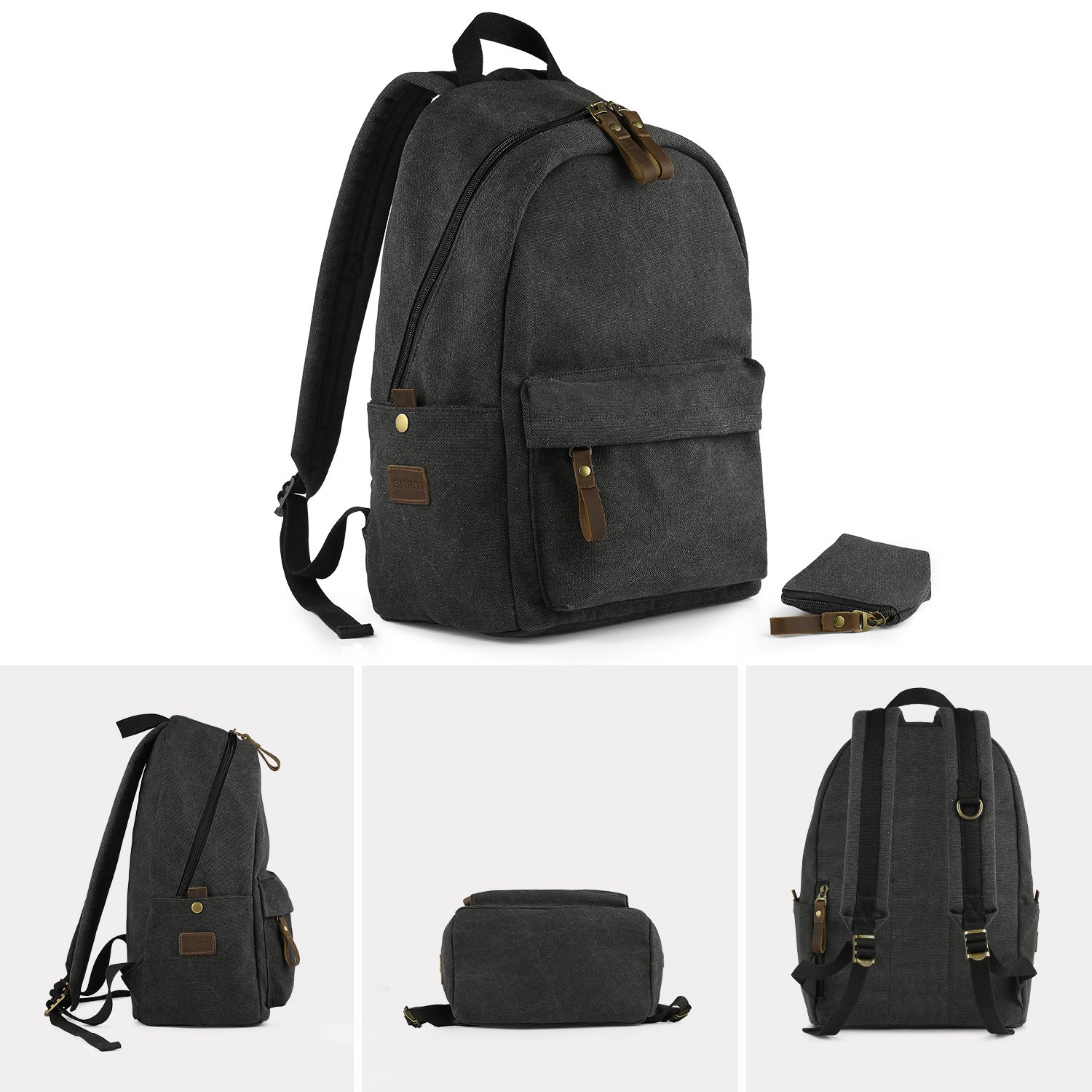 SMRITI Canvas 15.6 inch Laptop Backpack Casual Daypack for School Work and Travel - Dark Grey by SMRITI (Image #6)