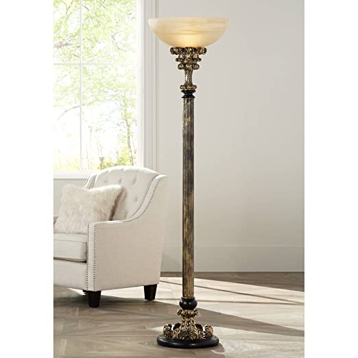 Florencio Traditional Torchiere Antique Gold Column Amber Glass Shade Foot  Dimmer for Living Room Bedroom Office Uplight - Barnes and Ivy