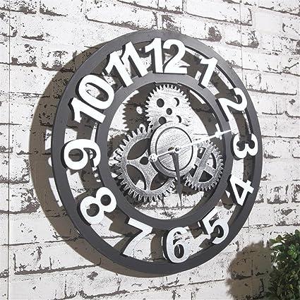 Yx Reloj de pared retro eólica industrial creativo mural marcha home salón bar de pared Reloj