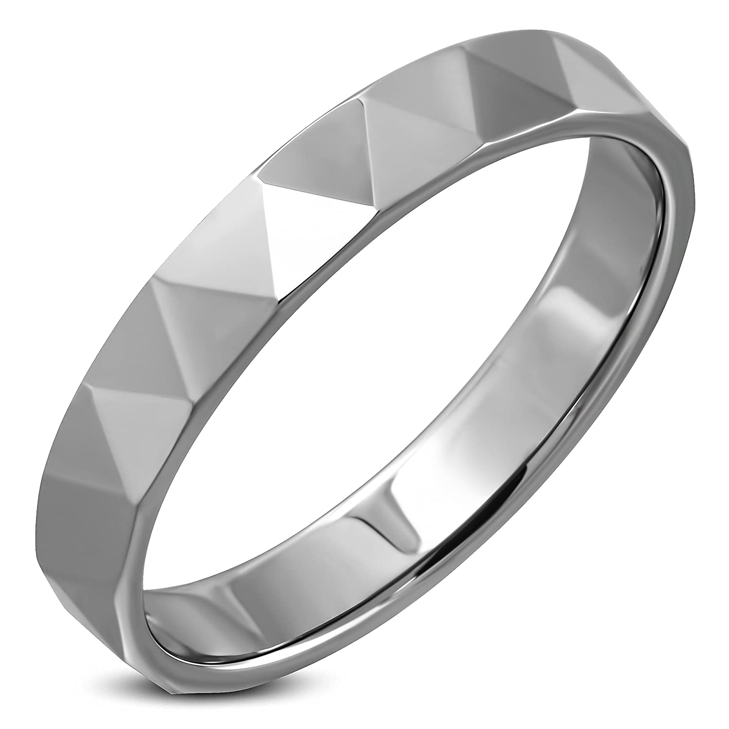 Tungsten Carbide Triangle Faceted Flat Band Ring