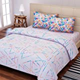SEJ by Nisha Gupta Cotton King Size Bedsheet with 2 Pillow Covers(220x275cm, White)