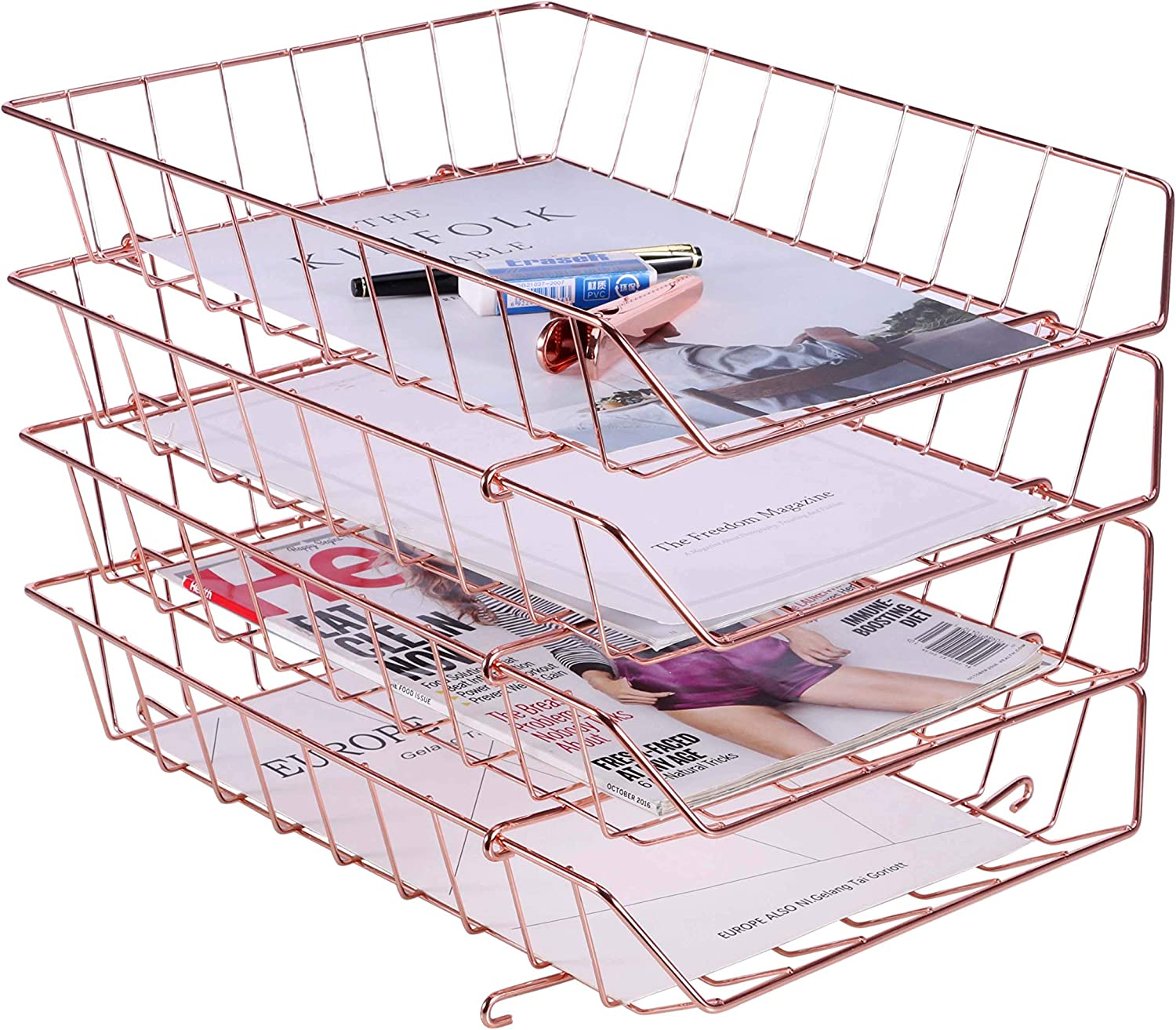 Z PLINRISE Stackable Letter Tray, 4-Tier Desk File Organizer for Mails, Magazines, Documents and Accessories, Wire Paper Tray for Home, School and Office, Rose Gold