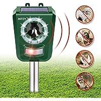 INTEY Repelente de Gatos, Solar Repelente Ultrasónico para Animales, para Exterior, Resistente al Agua, Ahuyentador de Gatos, Perros, Ratones, Zorros, Pájaros