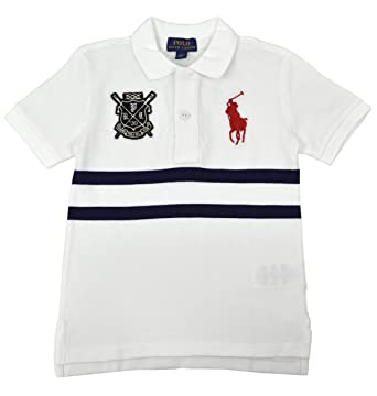 e2db9083e Polo Ralph Lauren Boys Big Kids Crest Chest Stripe Polo Shirt White Blue  (Small (