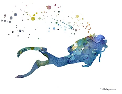 Scuba Diver Abstract Watercolor Art Print By Artist Dj Rogers