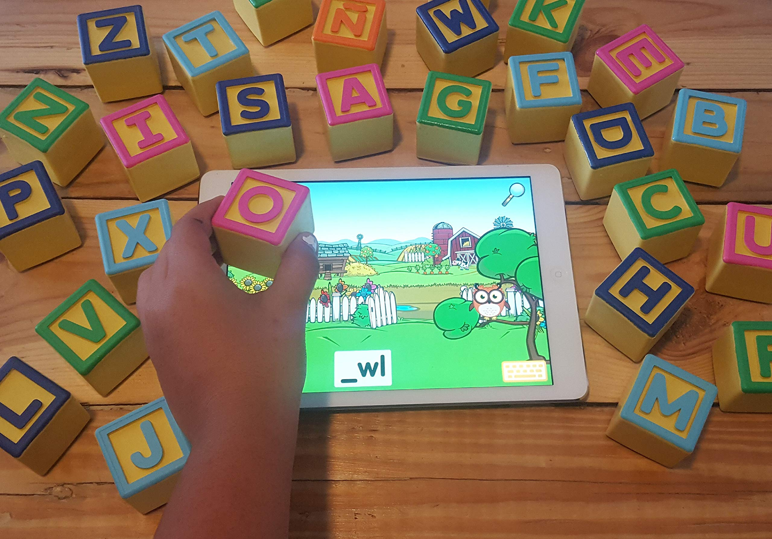 Montessori Toys for ABC Learning | Smart Alphabet Blocks for Interactive Educational iPad Games for Preschool & Kindergarten | Learn English & Spanish | Toddlers & Kids 1-6 | Includes 5 Free Apps by AlphaTechBlocks (Image #7)