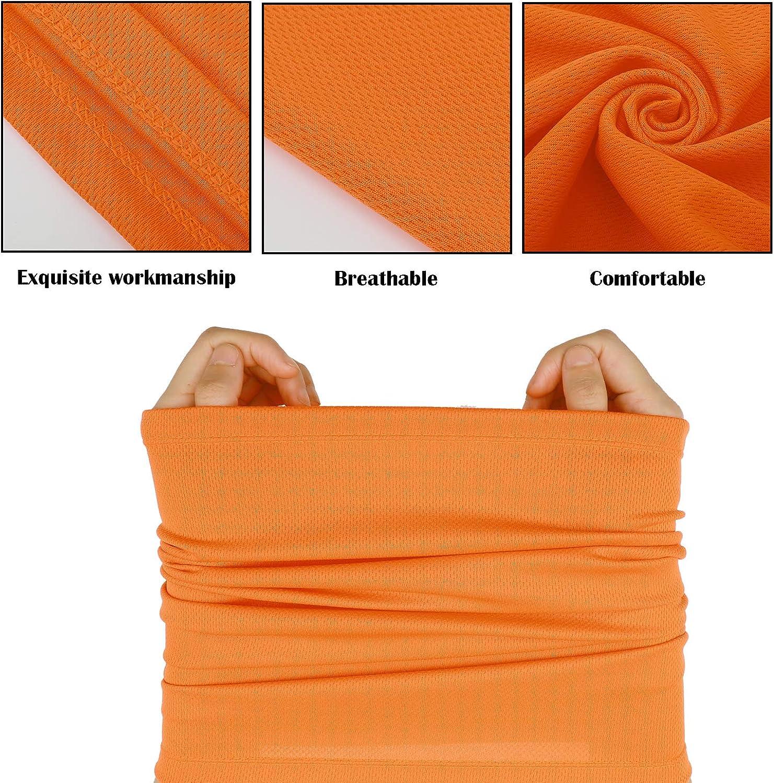 Summer Face Cover UV Protection Neck Gaiter Scarf Sunscreen Breathable Bandana Rose Red, Fluorescent Green, Light Blue, Orange, Yellow, Black, 6