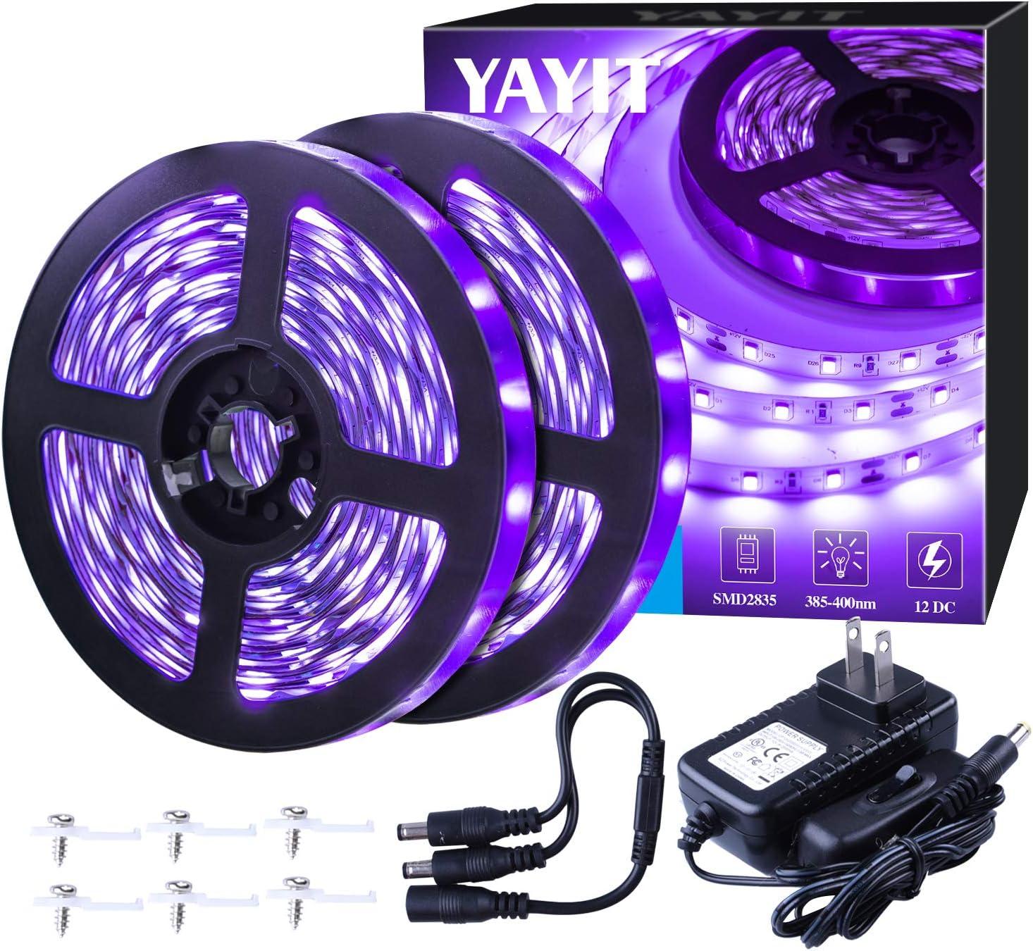 YAYIT 40 Foot Led Black Light Strip Kit, 720 Units Led, 12V Flexible Blacklight Fixtures, Non-Waterproof
