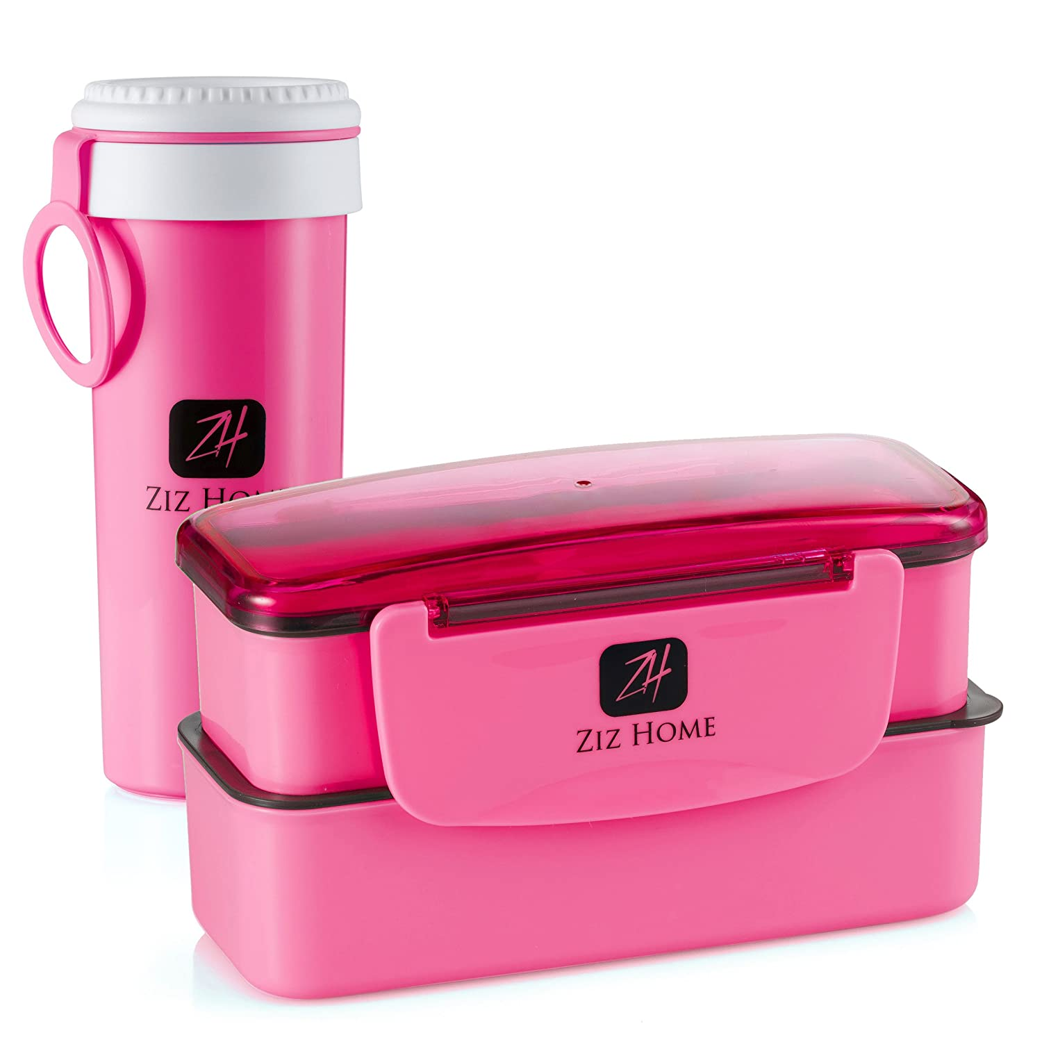 ziz home bento lunch box set for adults kids 2 stackable containers ebay. Black Bedroom Furniture Sets. Home Design Ideas