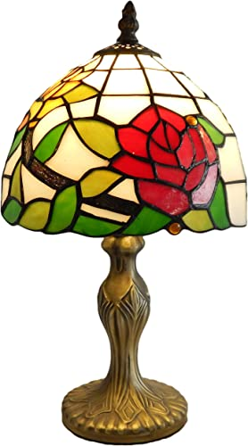Mural Times Lighting Tiffany Table Lamp W8H14 Inch Elegant Red Rose Floral Stained Glass Light Shade Antique Bedside Table Reading Light