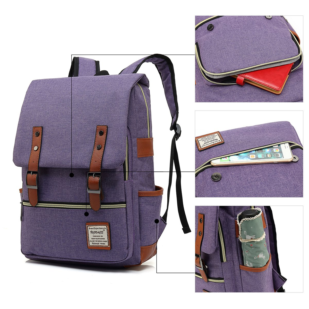 UGRACE Slim Business Laptop Backpack Elegant Casual Daypacks Outdoor Sports Rucksack School Shoulder Bag for Men Women, Tear Resistant Unique Travelling Backpack Fits up to 15.6Inch Macbook in Violet by UGRACE (Image #4)