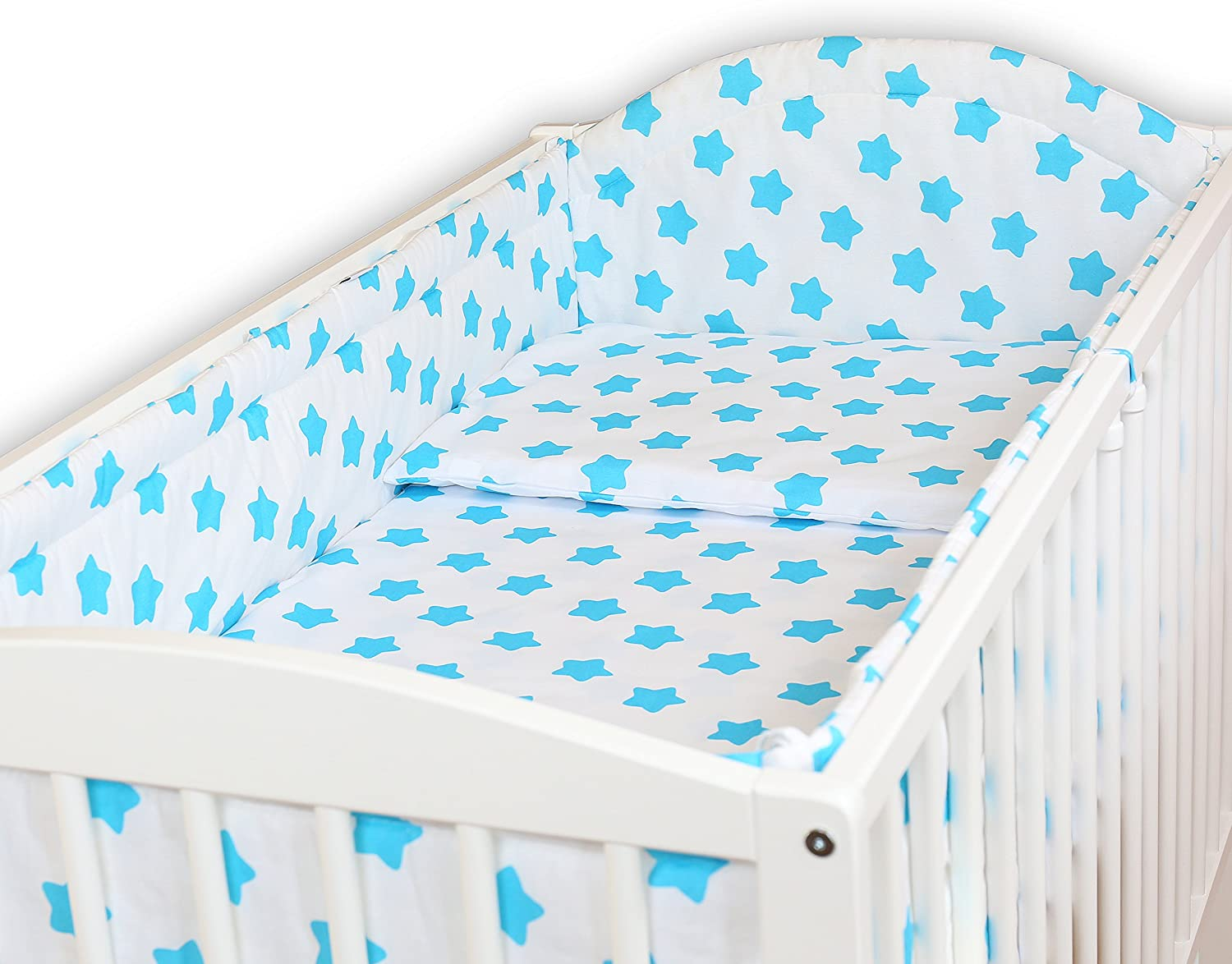 Blue Baby Bedding Set 6PCS COT Bed Size Pillow Duvet Cover Terry Sheet Bumper 140x70CM