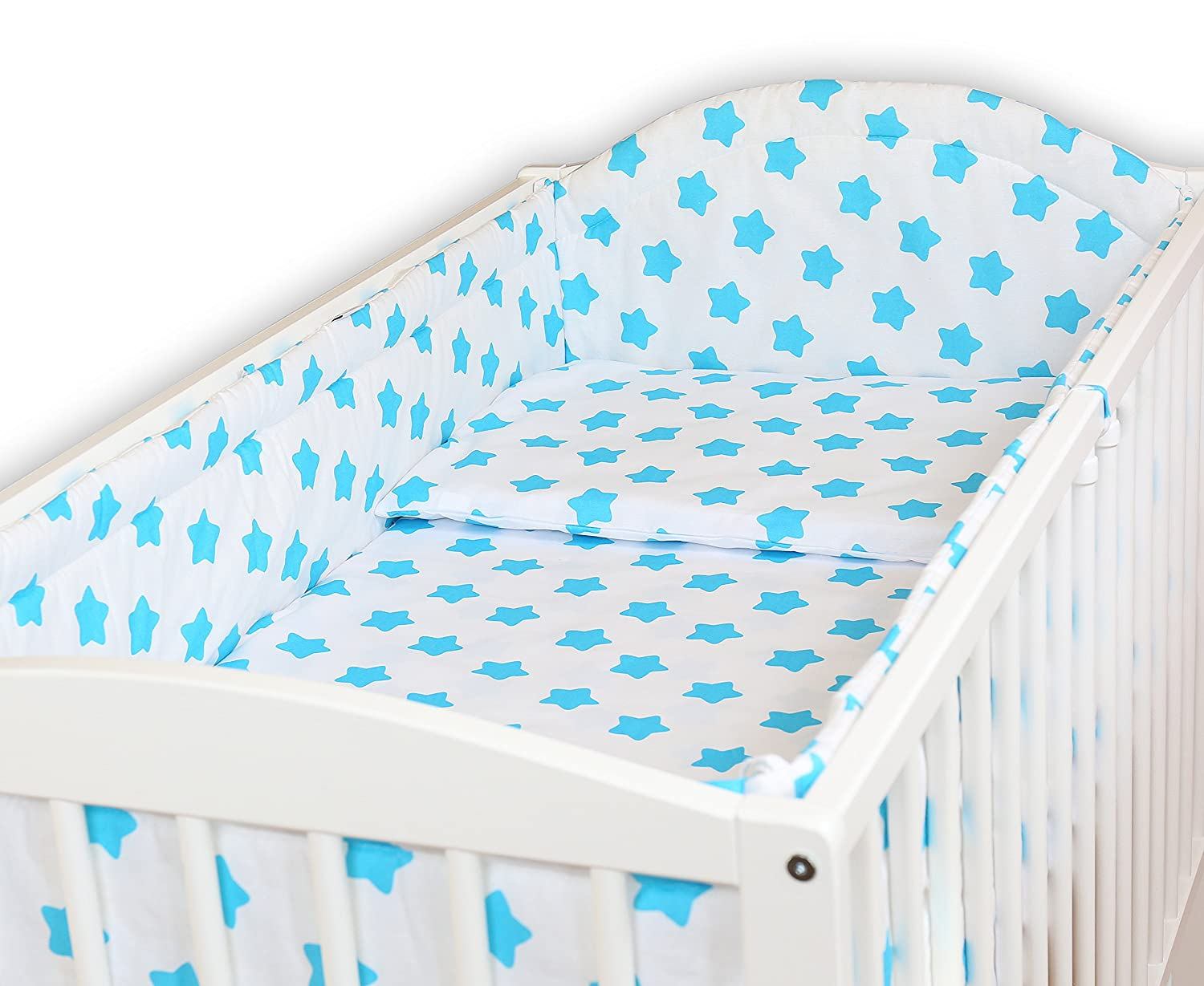 SAFARI BLUE BABY BEDDING SET ALLROUND BUMPER PILLOW DUVET COVER FOR COT 120x60 SET 5 PC