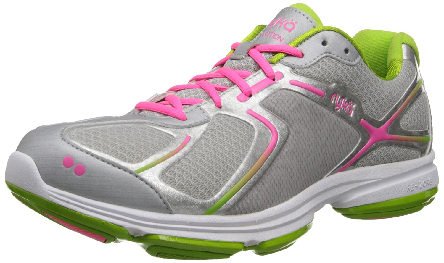 Ryka Women's Devotion Walking Shoe B00ISMJU76 5 B(M) US|Grey/Light Green /Dark Pink