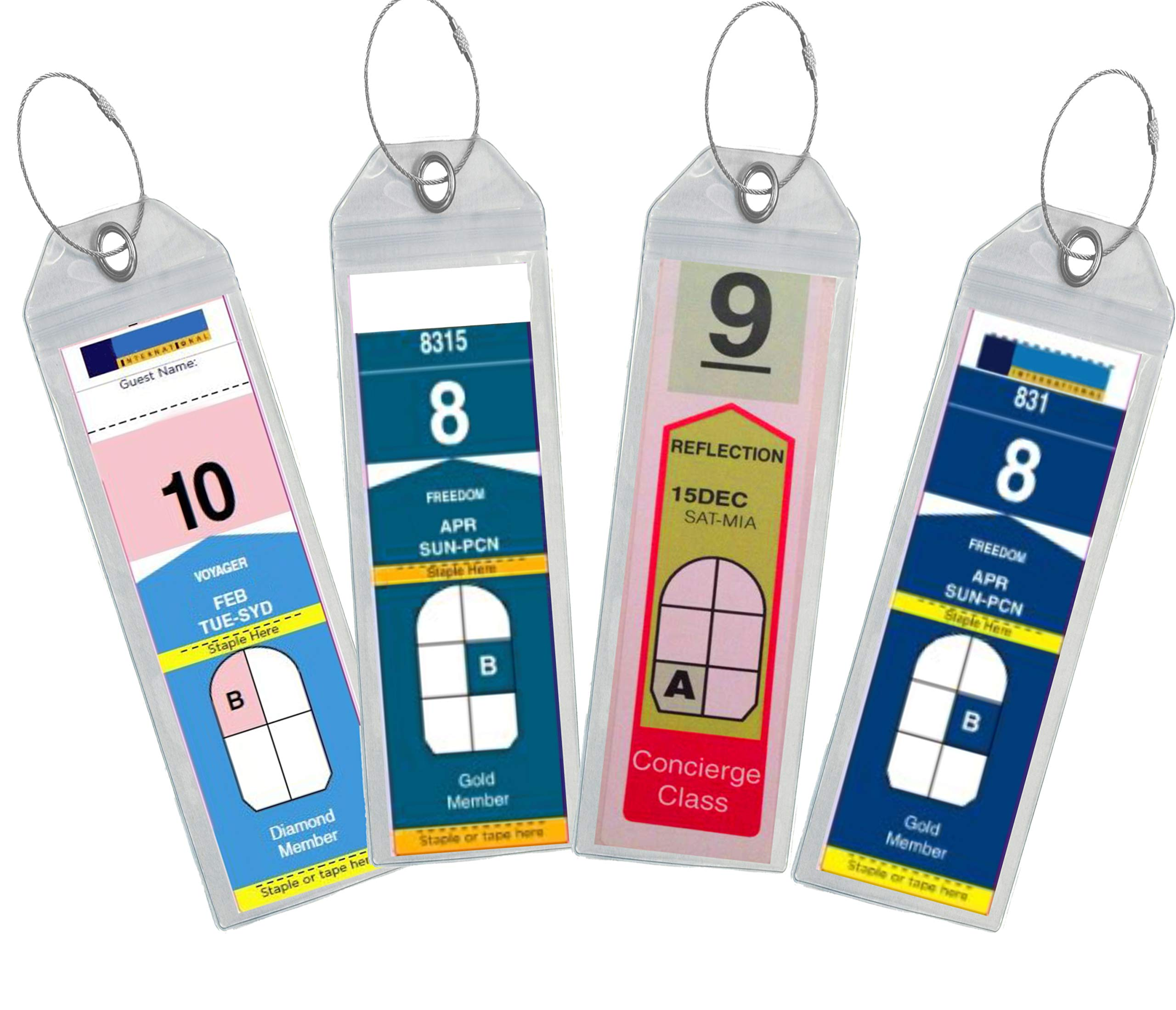 Cruise Luggage Tag Holder Zip Seal & Steel - Royal Caribbean & Celebrity Cruise (Clear - 4 Pack) by Highwind (Image #1)