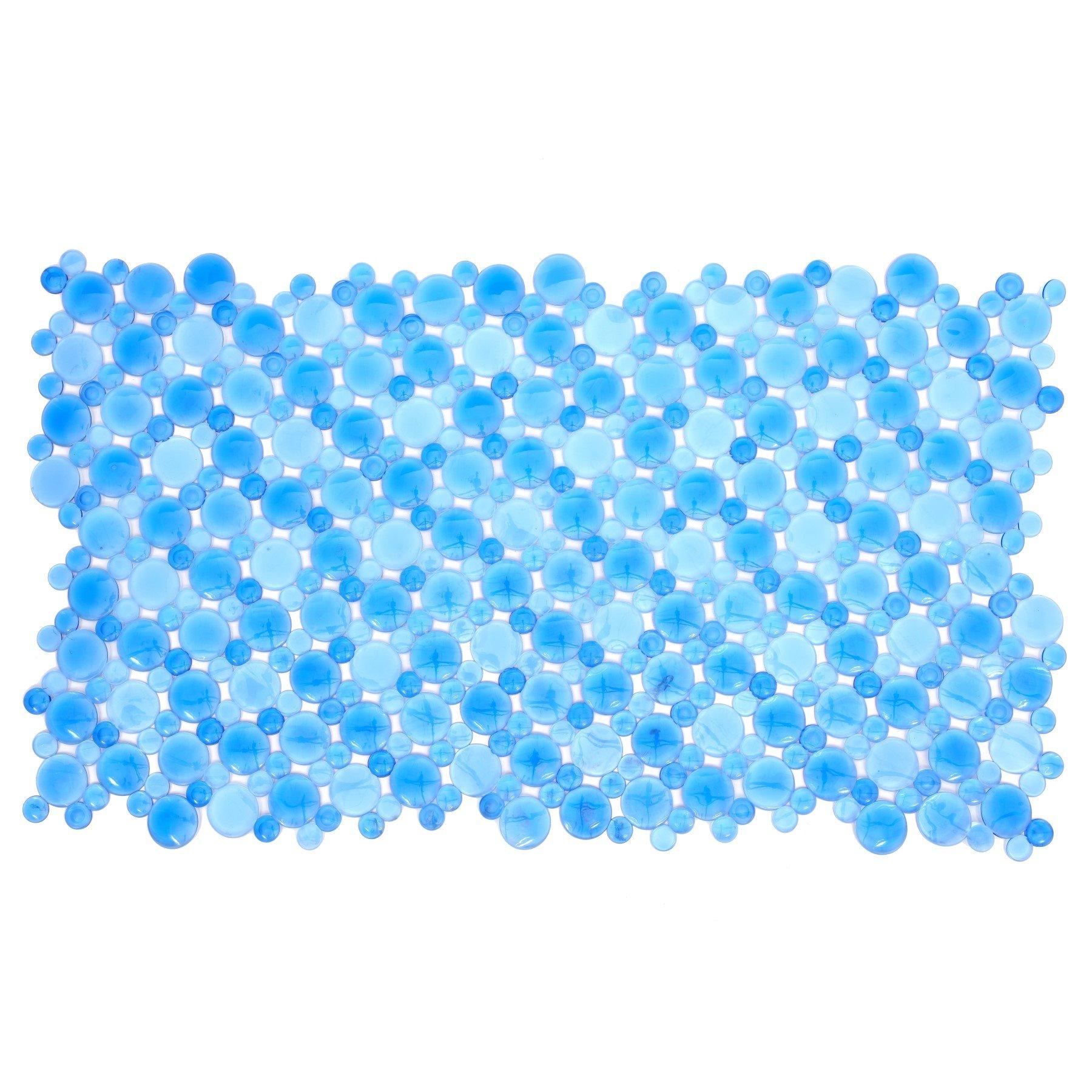 SlipX Solutions Blue Burst of Bubbles Bath Mat Provides Reliable Slip-Resistance (17'' x 30'', Stylish Bubble Design, Machine Washable)
