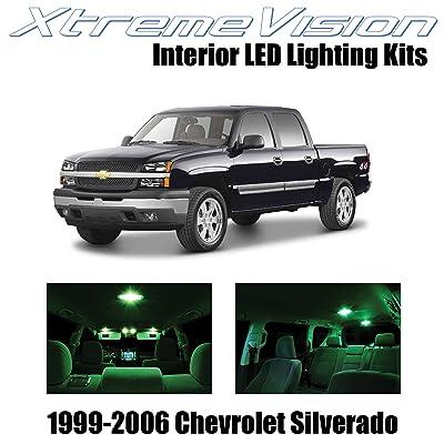 Xtremevision Interior LED for Chevy Silverado 1999-2006 (18 Pieces) Green Interior LED Kit + Installation Tool: Automotive