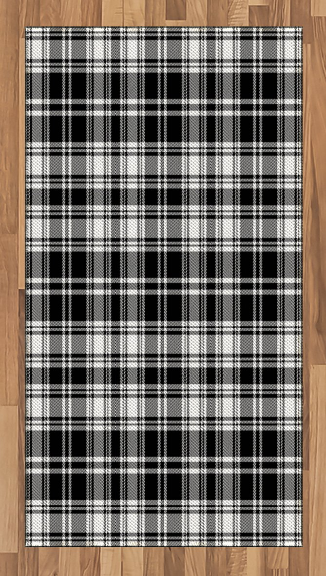 Lunarable Plaid Area Rug, Monochrome Style Vintage English Stripes and Checks Pattern Abstract Grunge Look, Flat Woven Accent Rug for Living Room Bedroom Dining Room, 2.6 x 5 FT, Black White