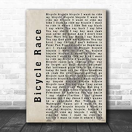 Bicicleta Race Silhouette Canción Lyric Cita Impresión, Small A5 (8.3