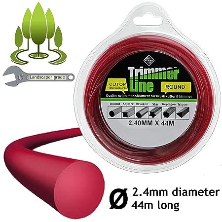 Cable para desbrozadora/cortabordes redondo, de 2,4 mm de ...
