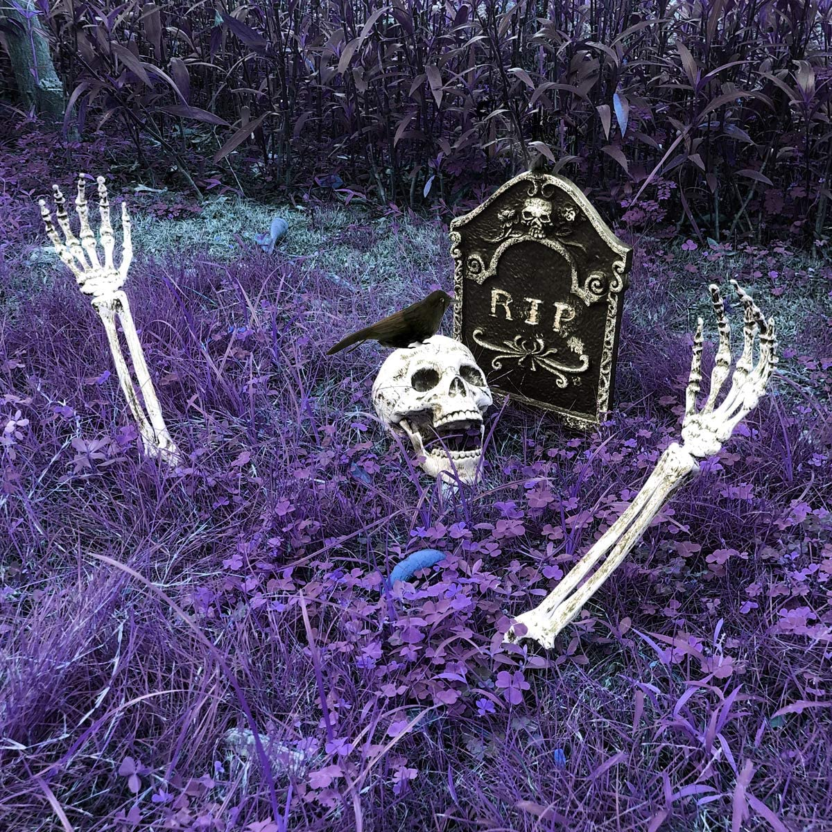MITCIEN Skeleton Stakes for Halloween Decorations Outdoor Scary Yard Ground Breaker,Halloween Decoration Realistic Skull,Tomb,Crow for Yard Lawn: Home & Kitchen