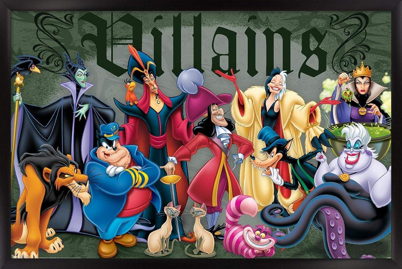 "Amazon.com: Trends International Disney Villains - Group Pose Wall Poster,  14.725"" x 22.375"", Black Framed Version: Home & Kitchen"