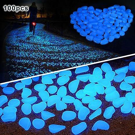pengduo 100 piedras brillantes en la oscuridad para decorar paseos o jardines, decorativas, luminosas