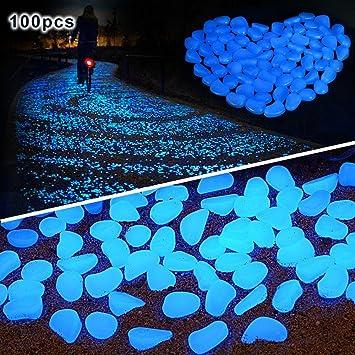 pengduo 100 piedras brillantes en la oscuridad para decorar paseos o ...