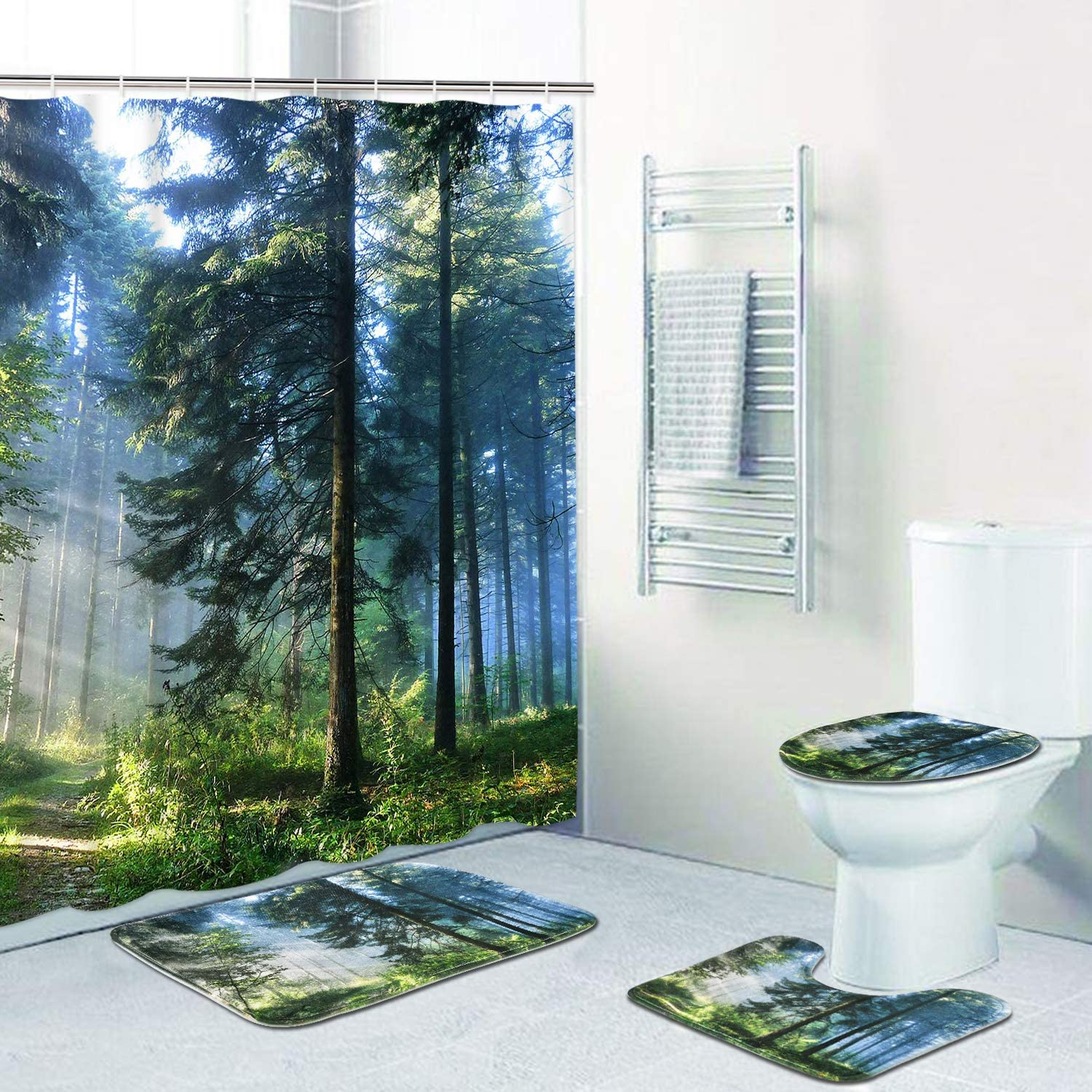 Misty Forest Shower Curtain Sets with Non-Slip Rugs, Toilet Lid Cover and Bath Mat, Sunshine Trees Shower Curtains with 12 Hook s, Durable Waterproof Bath Curtain